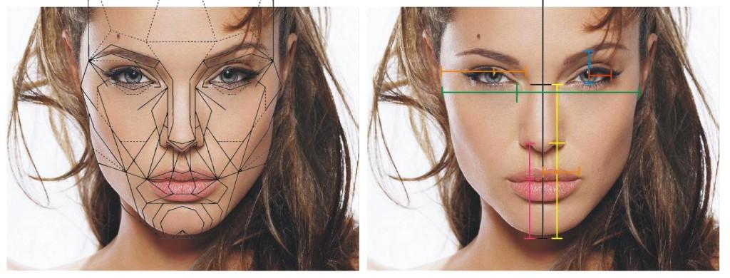 Proporção Áurea representada na face da atriz Angelina Jolie
